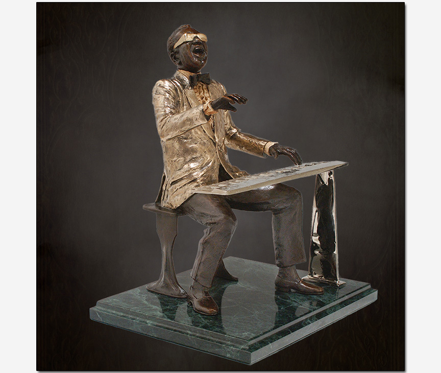 Ray Charles in bronze Ed Dwight sculptor