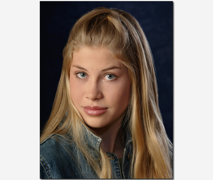 young female model commercial look headshot