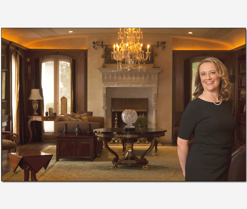 woman in historic mansion