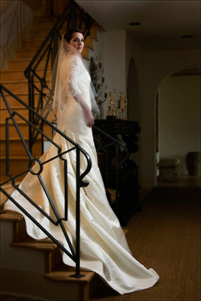 bride on stairway in her grandmother's house
