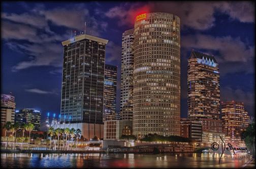 HDR photo taken at night Hillsborough River, downtown Tampa
