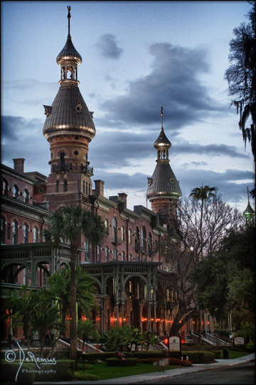University of Tampa towers at dusk