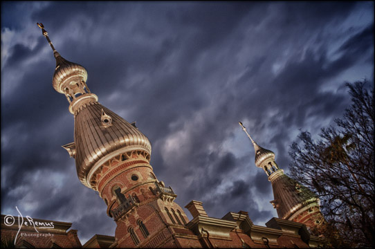 minarets at dusk with stormy skies at Plant Hall UT